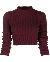 ANDAMANE Ribbed-knit Cropped Sweater - Red