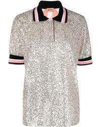 N°21 Рубашка Поло Свободного Кроя С Пайетками - Металлик