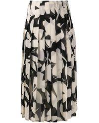 Calvin Klein フローラル プリーツスカート - ブラック