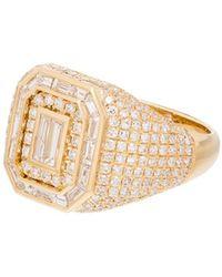 SHAY Champion 18kt Yellow Gold Diamond Signet Ring - Metallic