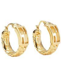 Fendi Ff Baguette Hoop Earrings - Metallic