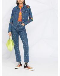 Love Moschino Джинсовая Куртка С Цветочным Принтом - Синий