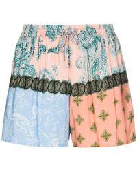 Esteban Cortazar Paisley-print Patchwork Shorts - Blue