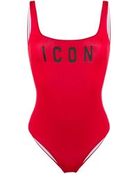 DSquared² Icon Print Swimsuit - Red
