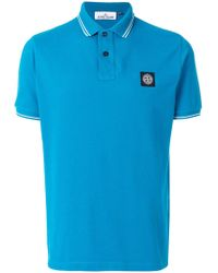 Stone Island Logo Patch Polo Top - Blue