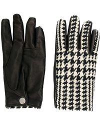 Alexander McQueen Houndstooth Panel Gloves - Black