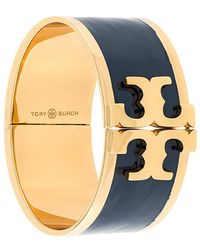 Tory Burch - Enamelled Raised-logo Wide Bracelet - Lyst