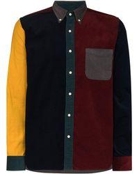 Beams Plus コーデュロイ パッチワークシャツ - レッド