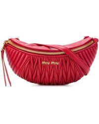 Miu Miu Ribbed Belt Bag - Red