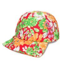 Plan C Floral Print Baseball Cap - Red