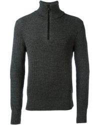 AMI Fisherman Rib Half Zipped Sweater - Grijs