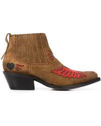 Ash Contrast Patch Design Boots - Brown