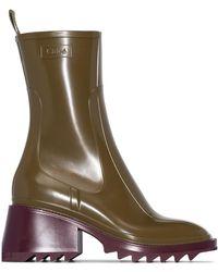 Chloé Green 50 Rubber Zip-up Rain Boots