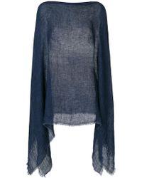 Destin Knitted Draped Poncho - Blue