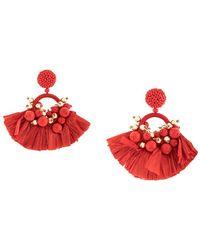 Oscar de la Renta Embellished Tassel Earrings - Red