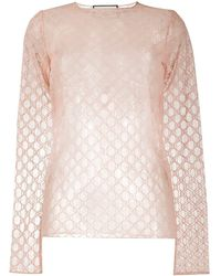 Gucci GG-embroidered Sheer Top - Pink