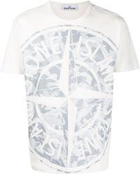 Stone Island T-shirt con stampa camouflage - Bianco