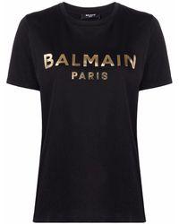 Balmain Camiseta con logo estampado - Negro