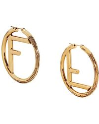 Fendi F Is Large Earrings - Metallic