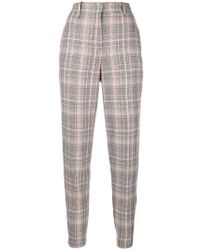 Pinko - Plaid Tapered Trousers - Lyst