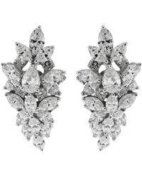 YEPREM 18kt White Gold Diamond Clip-on Earrings - Metallic