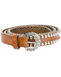 Golden Goose Deluxe Brand Studded buckled belt - Marron