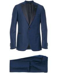 Lardini - Contrast Lapel Suit - Lyst