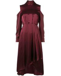 Diane von Furstenberg Vestido midi con aberturas en los hombros - Rojo