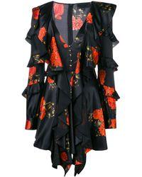 Philipp Plein Ruffled Floral Print Dress - Черный