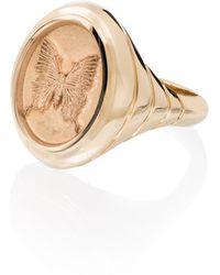 Retrouvai 14k Yellow Grandfather Butterfly Signet Ring - Metallic