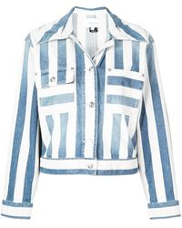 Current/Elliott Striped Denim Jacket - Blue