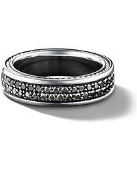 David Yurman Streamline ブラックダイヤモンド ツーロウ パヴェ リング スターリングシルバー