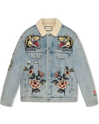 Gucci - Oversize Denim Jacket With Patches - Lyst