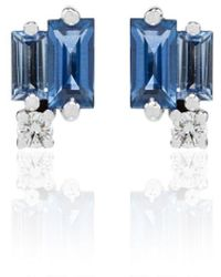 Suzanne Kalan 18kt White Gold Sapphire And Diamond Stud Earrings - Blue
