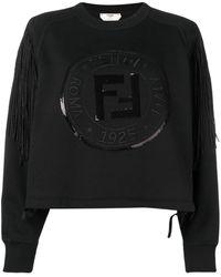 Fendi Толстовка С Бахромой И Логотипом - Черный