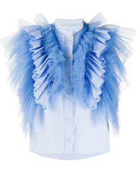 Viktor & Rolf Wings Of Love ストライプ ブラウス - ブルー