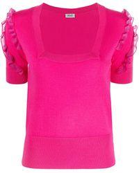 Liu Jo Ruffle Trim Short-sleeve Knitted Top - Pink
