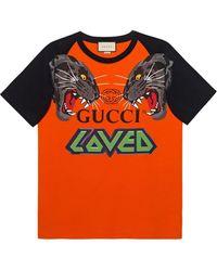 Gucci Oversized Tiger And Logo Print T Shirt - Orange