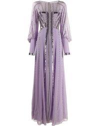 Temperley London Длинное Платье С Вышивкой - Пурпурный