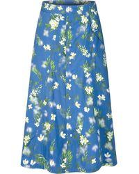 PORTSPURE フローラル Aラインスカート - ブルー