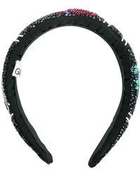 Ganni Haarband mit Perlen - Schwarz