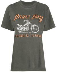 Anine Bing プリント Tシャツ - グレー