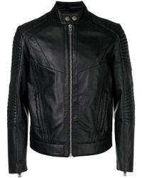 Les Hommes - Panelled Biker Jacket - Lyst