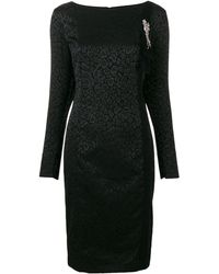 Class Roberto Cavalli Longsleeved Animal Print Dress - Black