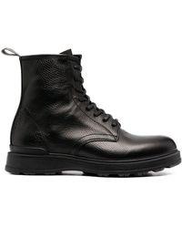 Woolrich Ботинки В Стиле Милитари Из Зернистой Кожи - Черный