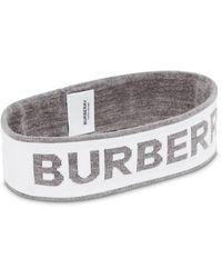 Burberry Повязка На Голову Вязки Интарсия С Логотипом - Серый