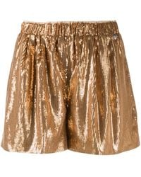 Twin Set High-waisted Sequinned Shorts - Metallic
