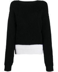 Rochas コントラストヘム セーター - ブラック
