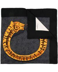Cartier Fular con motivo de tigre - Negro
