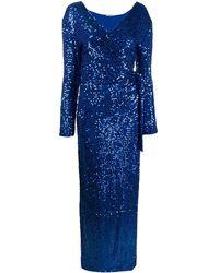 P.A.R.O.S.H. スパンコール イブニングドレス - ブルー